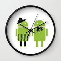android Wall Clocks featuring android couple by Grazemee
