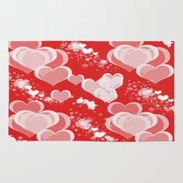 Floating Hearts And Flowers Rug