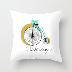 I love bicycle Throw Pillow