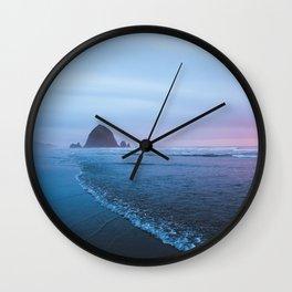 Haystack Rock Sunset Wall Clock