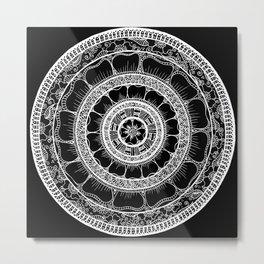 Circle - Mandala - Love Wealth Health Youthfulnes - Black White Metal Print
