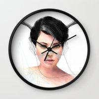 jenny liz rome Wall Clocks featuring Liz by J U M P S I C K ▼▲