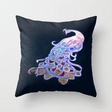 Unique White Peacock Throw Pillow
