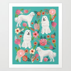 Great Pyrenees florals pattern dog breed must have dog lover gifts Art Print