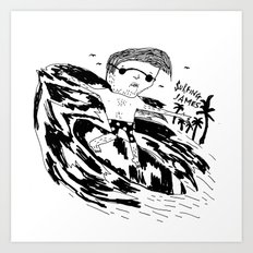 Surfing James Art Print