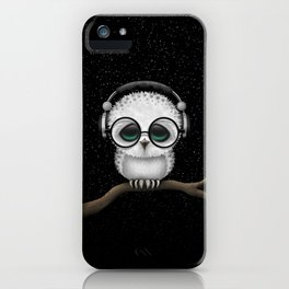 Cute Baby Owl Dj with Headphones and Glasses iPhone Case