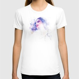 Blue Profile Girl Sketch T-shirt
