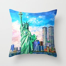 NYC, WTC, Twin Towers, Statue of Liberty Throw Pillow