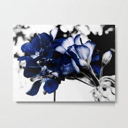 In Bloom Flowers : Navy Blue Pop of Color Metal Print