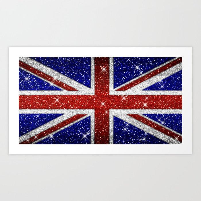 Glitters Shiny Sparkle Union Jack Flag Kunstdrucke