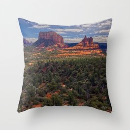 Bell Rock Courthouse Butte of Sedona Panorama Throw Pillow