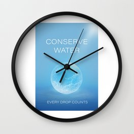 Water Conservation Poster Wall Clock