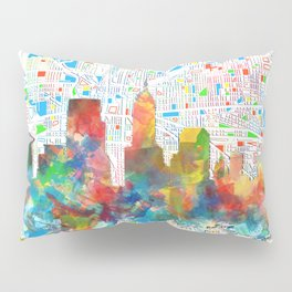 indianapolis city skyline watercolor 6 Pillow Sham