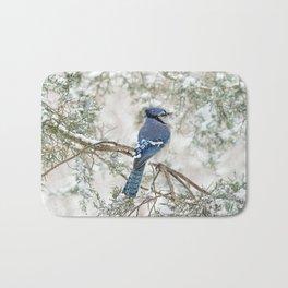 Snow Jay: American Blue Jay Bath Mat