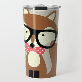 Glasses and Bow Tie Hipster Brown Fox Travel Mug