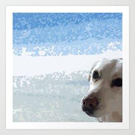 Dog Eyes.   cute, dogs, dog, pet, children, kids, blue, white, art, decor, society6. Art Print