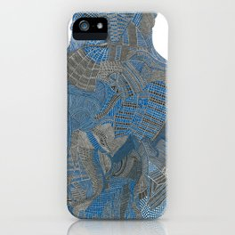 Blue and black fine liner abstract iPhone Case
