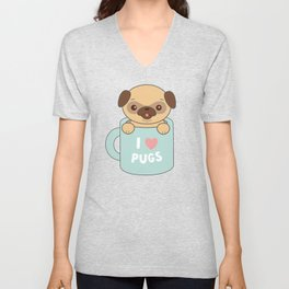 Kawaii Cute I Love Pugs Unisex V-Neck
