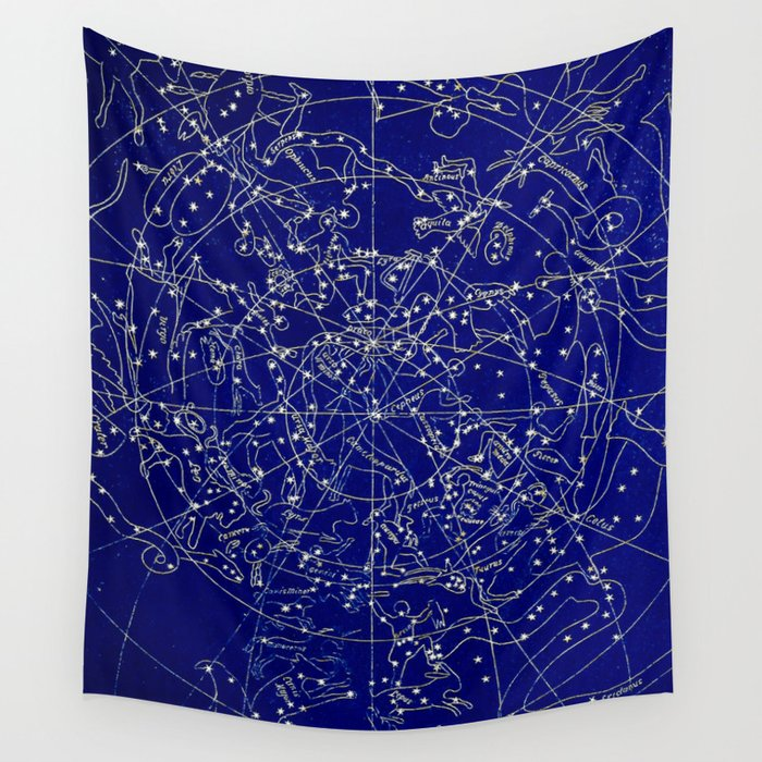 Constellation Stars Blue Space Map On Gold Marble Wall Tapestry By - Constellation wall map