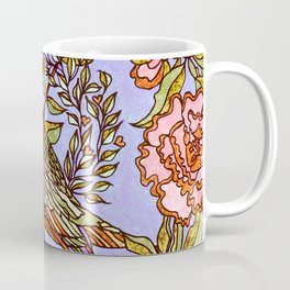 Lovebirds With Peony Wreath Coffee Mug