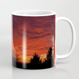 Red sunset and trees silhouette in Warsaw Coffee Mug