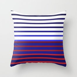 Blue Red Stripes #maritime #stripes #artdeco #minimal #art #design #kirovair #buyart #decor #home Throw Pillow