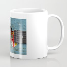 Old Vintage Acoustic Guitar with Fiji Flag Coffee Mug