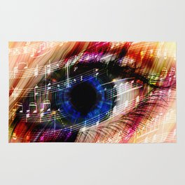 music backgroun abstract eye with the notes of a waltz Rug