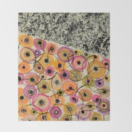 Circles and Flowers- Yellow Throw Blanket