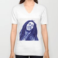 marley V-neck T-shirts featuring Marley ballpoint pen  by David Kokot