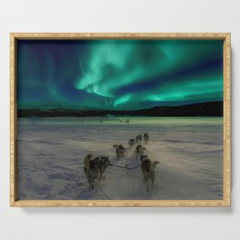 Winter Northern Lights Dog Sled (Color) Serving Tray