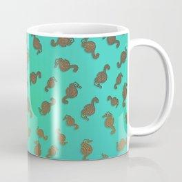Copper Seahorses in an Aqua Sea Coffee Mug