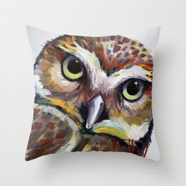 Burrowing Owl Palette Knife Painting in Oil by Award Winning San Francisco Bay Artist Lisa Elley Throw Pillow