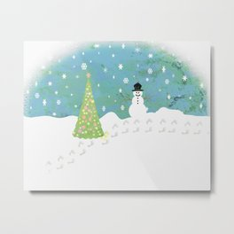 Snowman on Christmas Day Metal Print