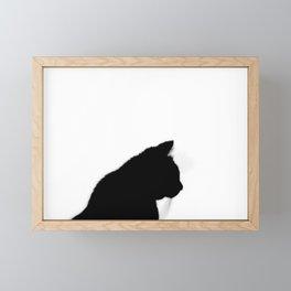 Black cat silhouette Framed Mini Art Print