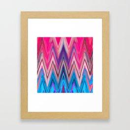 Bright Pink Teal Ikat Chevron Aztec Pattern Framed Art Print