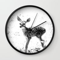 fawn Wall Clocks featuring fawn by 2sweet4words Designs