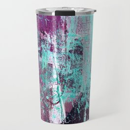 01012: a vibrant abstract piece in teal and ultraviolet Travel Mug