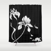 aelwen Shower Curtains featuring Iris on Black by Aelwen
