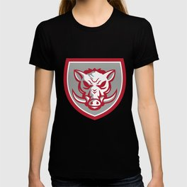 Wild Boar Razorback Head Angry Shield Retro T-shirt