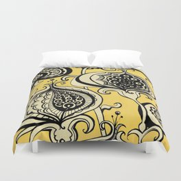 Black and Yellow Floral Duvet Cover