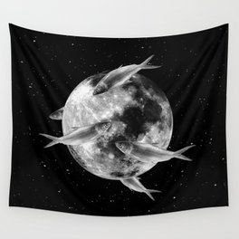 fish thank with floathing moon Wall Tapestry