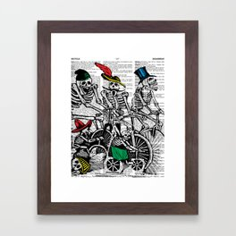 Calavera Cyclists   Skeletons on Bikes   Day of the Dead   Dia de los Muertos   Dictionary Text   Framed Art Print