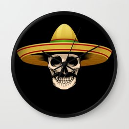 Funny Mexican Skeleton product Gift for Sugar Skull Lovers Wall Clock