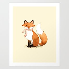 Fox . watercolor painting Art Print