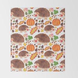 Autumn Hedgehog Throw Blanket