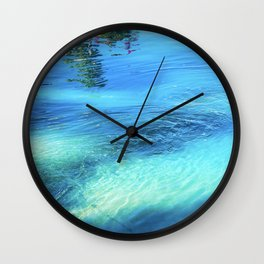 Lake Reflections: Whirlpool in Aqua and Cerulean Blue Wall Clock