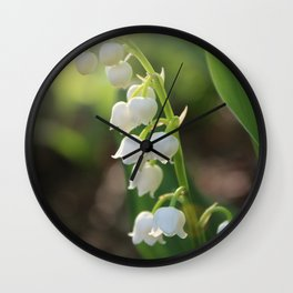 Sunlit white Lily of the Valley Wall Clock