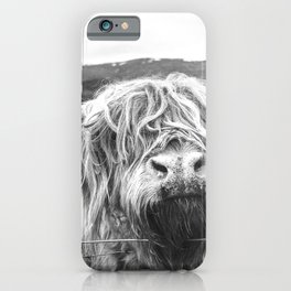 Highland Cow Nose Barbed Wire Fence Black and White iPhone Case