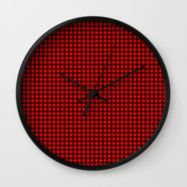 Mini Berry Red and Black Rustic Cowboy Cabin Buffalo Check Wall Clock